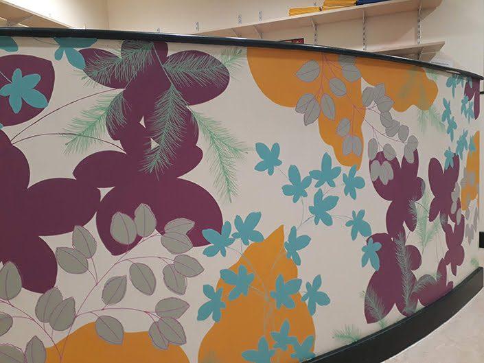 leaves-colourful-school-reading-corner-wall-mural-purple-detail