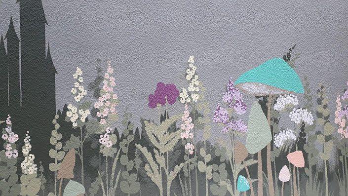 fairy-castle-garden-wall-mural-wild-flowers